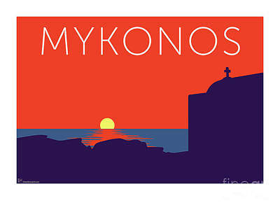 Digital Art - Mykonos Sunset Silhouette - Orange by Sam Brennan