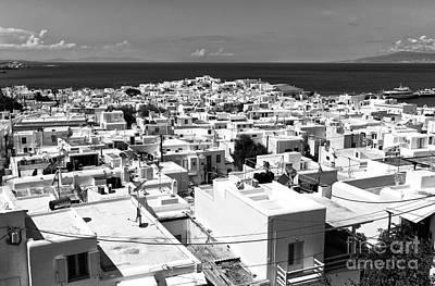 Photograph - Mykonos Town Portrait Mono by John Rizzuto