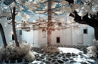 Photograph - Mykonos Town Tree Infrared by John Rizzuto