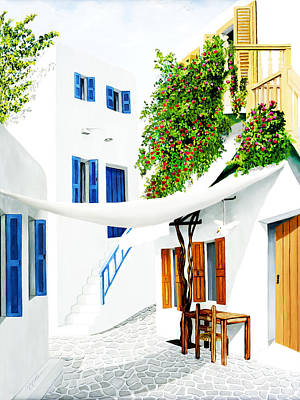 Life Painting - Mykonos Walk - Prints Of Original Oil Painting by Mary Grden's Baywood Gallery