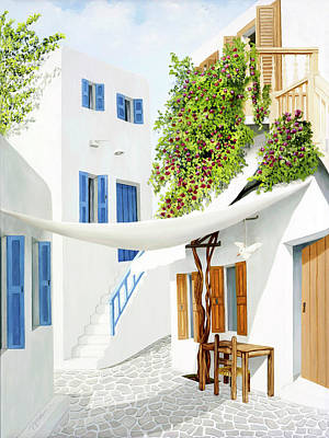 Painting - Mykonos Walk - Prints From My Original Oil Painting by Mary Grden Fine Art Oil Painter Baywood Gallery