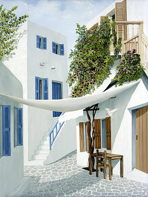 Awnings Painting - Mykonos Walk- Prints Of Original Oil Painting by Mary Grden Fine Art Oil Painter Baywood Gallery