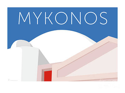 Digital Art - Mykonos Walls - Blue by Sam Brennan