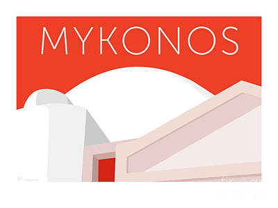 Digital Art - Mykonos Walls - Orange by Sam Brennan