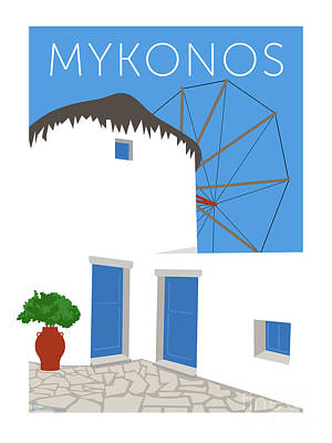 Digital Art - Mykonos Windmill - Blue by Sam Brennan