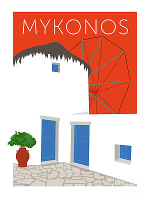 Digital Art - Mykonos Windmill - Orange by Sam Brennan