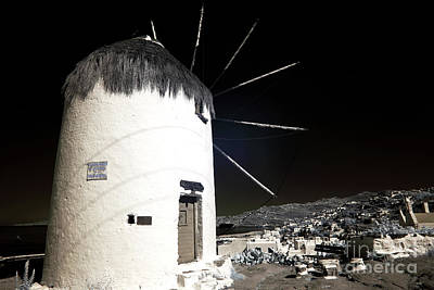 Photograph - Mykonos Windmill Shadow Infrared by John Rizzuto
