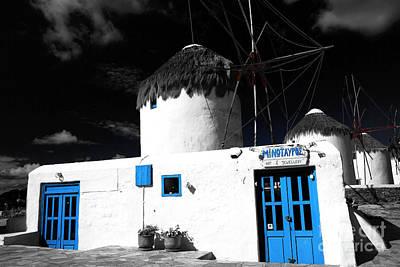 Photograph - Mykonos Windmills Fusion by John Rizzuto