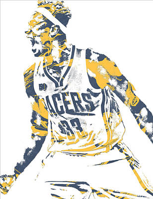 Indiana Pacers Mixed Media - Myles Turner Indiana Pacers Pixel Art 1 by Joe Hamilton