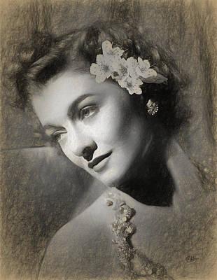 Myrna Loy Draw Art Print by Quim Abella