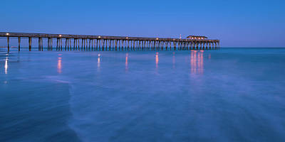 Photograph - Myrtle Beach North Carolina Fishing Pier At Blue Hour Panorama by Ranjay Mitra
