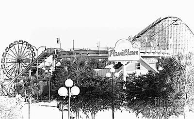 Mixed Media - Myrtle Beach Pavillion Amusement Park Monotone by Bob Pardue