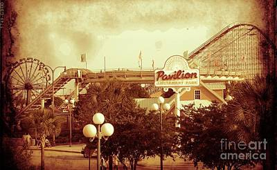 Mixed Media - Myrtle Beach Pavillion Amusement Park Sepia by Bob Pardue