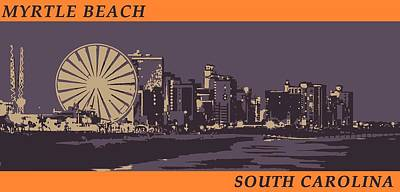 Digital Art - Myrtle Beach, Sc Skyline by Jennifer Hotai