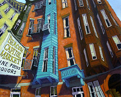 Brownstone Painting - Myrtle Street by Mike Gruber