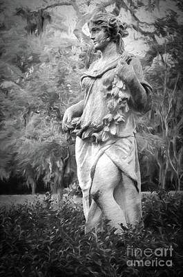Photograph - Myrtles Plantation Statue-charcoal by Kathleen K Parker