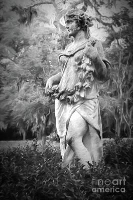 Photograph - Myrtles Plantation Statue-charcoal by Kathleen K Parker
