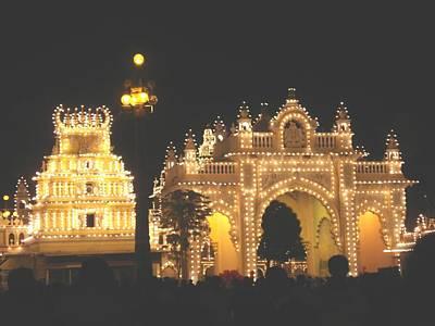 Night Lamp Painting - Mysore Palace Main Gate Temple Gloriously Lit At Night by Usha Shantharam