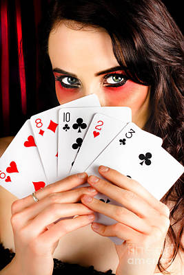 Mysterious Female Holding Deck Of Playing Cards Art Print by Jorgo Photography - Wall Art Gallery