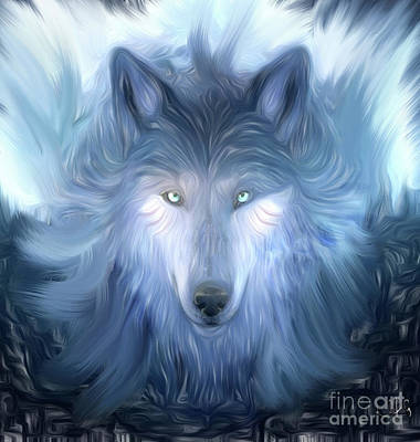 Mysterious Wolf Hand Painted Art Print by Heinz G Mielke