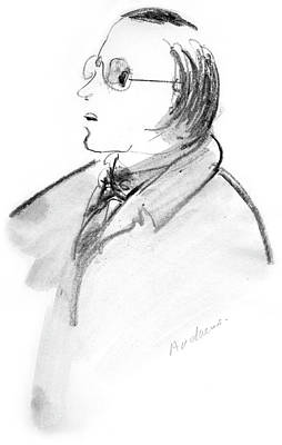 Drawing - Mysterious Man With Glasses by Annabel Andrews