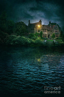Photograph - Mysterious Mansion At Night  by Lee Avison