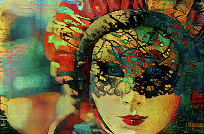 Mixed Media - Mysterious Mask by Lilia D