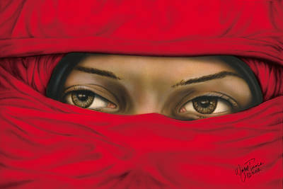 Mysterious Red Veiled Woman Original by Wayne Pruse