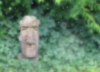 Digital Art - Mysterious Stone Statue In Garden by Susan Vineyard