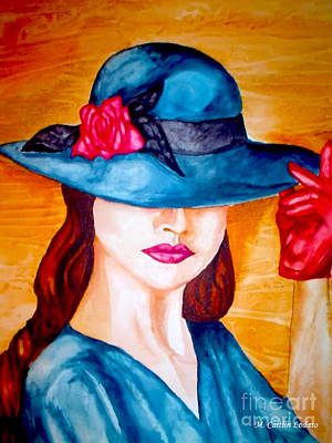 Mysterious Woman In A Blue Hat Watercolor Painting   Original by Caitlin Lodato