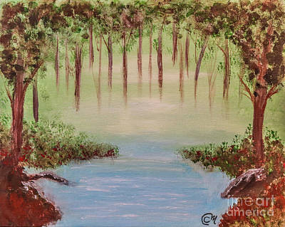 Spooky Scene Painting - Mystery In The Forest by Claudia M Photography