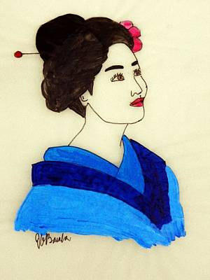 Painting - Lady In Blue Kimono by Joseph Frank Baraba