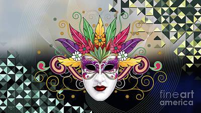 Party Digital Art - Mystery Mask by Bedros Awak