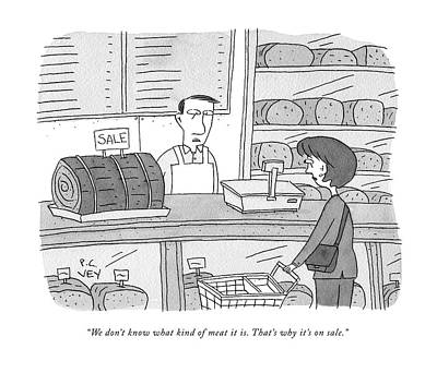 Drawing - Mystery Meat On Sale by Peter C Vey