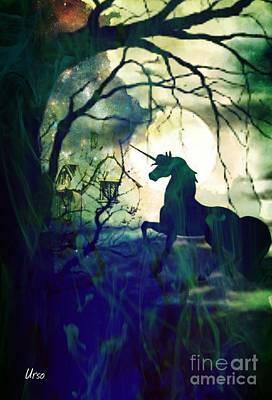 Digital Art - Mystery Of The Black Unicorn by Maria Urso