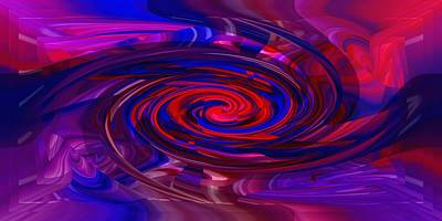 Digital Art - Mystery Swirl Red In Blue by rd Erickson