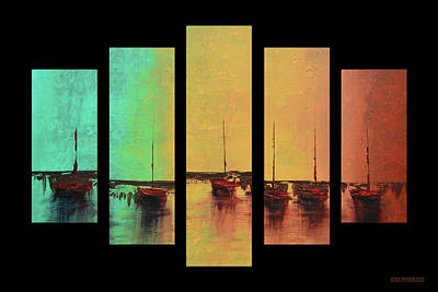 Painting - Mystic Bay 5 Panel On One by Ken Figurski