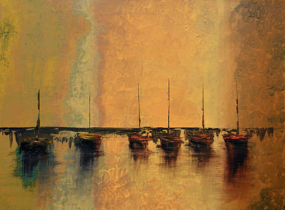 Waves Painting - Mystic Bay Gold by Ken Figurski