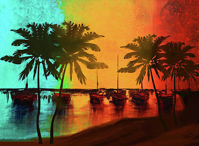 Tranquil Painting - Mystic Bay Palms  by Ken Figurski