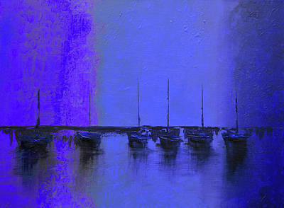 Ocean Sunset Mixed Media - Mystic Bay Purple And Blue by Ken Figurski