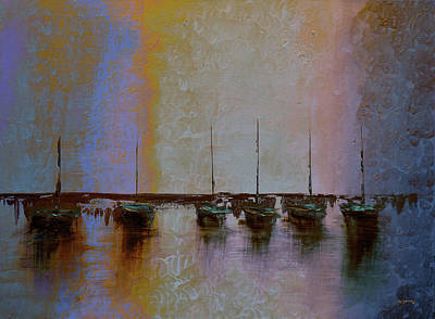 Sailboat Painting - Mystic Bay Purple And Orange by Ken Figurski