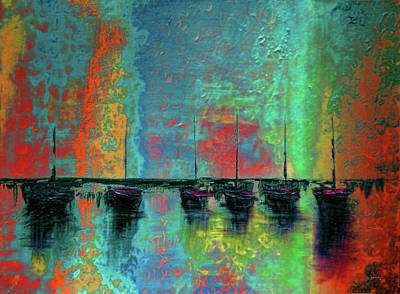 Abstract Seascape Mixed Media - Mystic Bay Rainbow by Ken Figurski