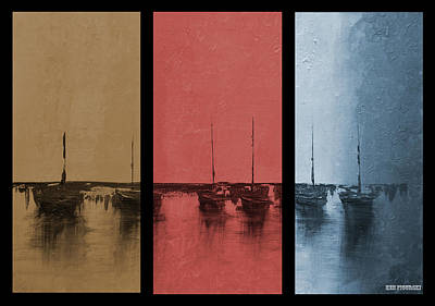 Sail Painting - Mystic Bay Triptych On One by Ken Figurski