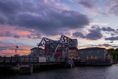Photograph - Mystic Bridge Sunset 2016 by Kirkodd Photography Of New England
