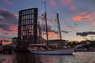 Photograph - Mystic Drawbridge Sunset Cruse by Kirkodd Photography Of New England