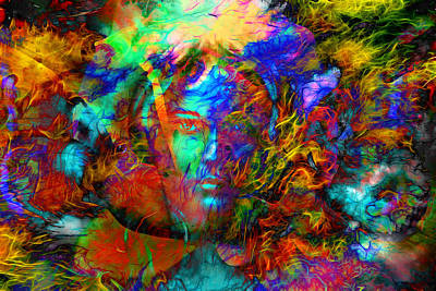 Mystic Desert Painting - Mystic Face Women With Butterflies, Color Background Collage. Eye Contact. by Jozef Klopacka