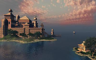 Digital Art - Mystic Fantasy Town by Britta Glodde
