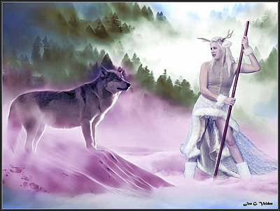 Photograph - Mystic Guardian And The Wolf by Jon Volden