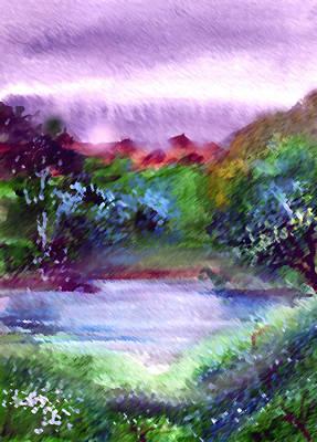 Anil Nene Painting - Mystic Lake by Anil Nene