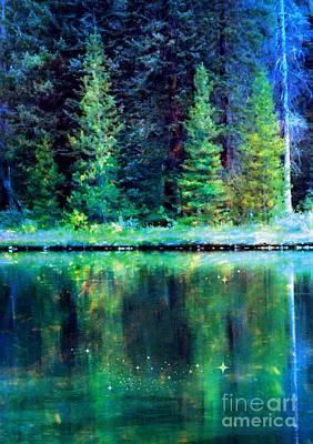 Digital Art - Mystic Lake by Annie Gibbons